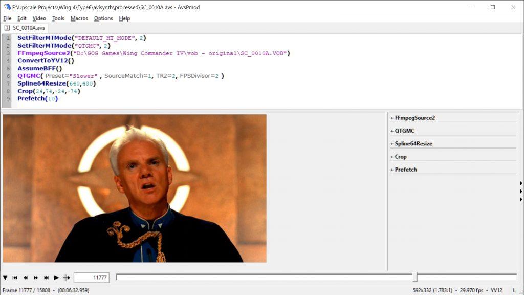 AvsPmod displaying the result of an AVISynth script